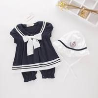 Retail Summer New Baby Girls Navy Style Bow Rompers Short Sleeve Jumpsuits With Sunhat Toddler Clothes