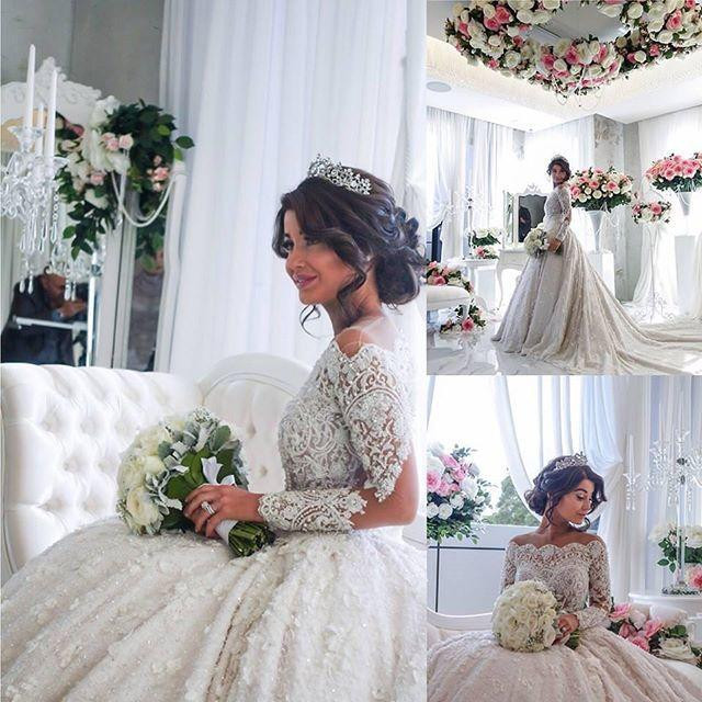 88043032439 Beaded Crystal Wedding Dresses Lace Full Sleeves Appliques Dubai Long Plus  Size Wedding Dress Turkey Sequins Casamento