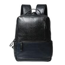 ETONWEAG New 2017 women brands cow leather black zipper business style backpacks vintage laptop school bags casual travel bag