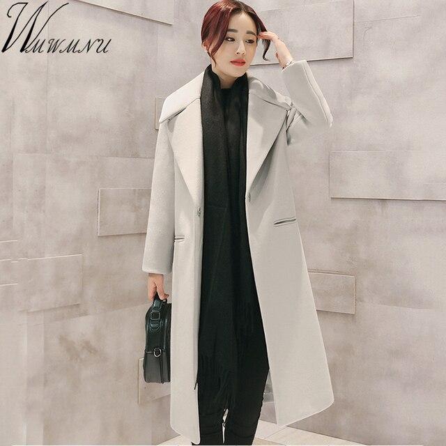 e33cdc831879 Haute Qualité Laine Manteaux Femmes longue Cachemire Slim Vestes Mode Femme  Outwear gris noir