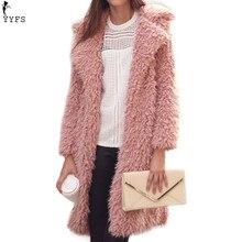 YYFS Winter Warm Wool Parkas Coat Women Turn Down Collar Plush Mid-length Slim Fashion Elegant Female Outwear Coat