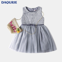 Hot 2017 Summer Style Kids Dresses Solid Color Fashion Sequins Yarn Splicing Girls Dress Sleeveless Party