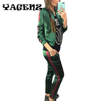 Spring Autumn Fashion Long Sleeve Striped Women Set Sporting Tops Pant Tracksuit Two Piece Set Casual