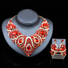 Joyería de traje de la joyería de sistemas de dubai chapado en oro collar y pendientes sistemas de la joyería nupcial de las mujeres de seis colores envío libre