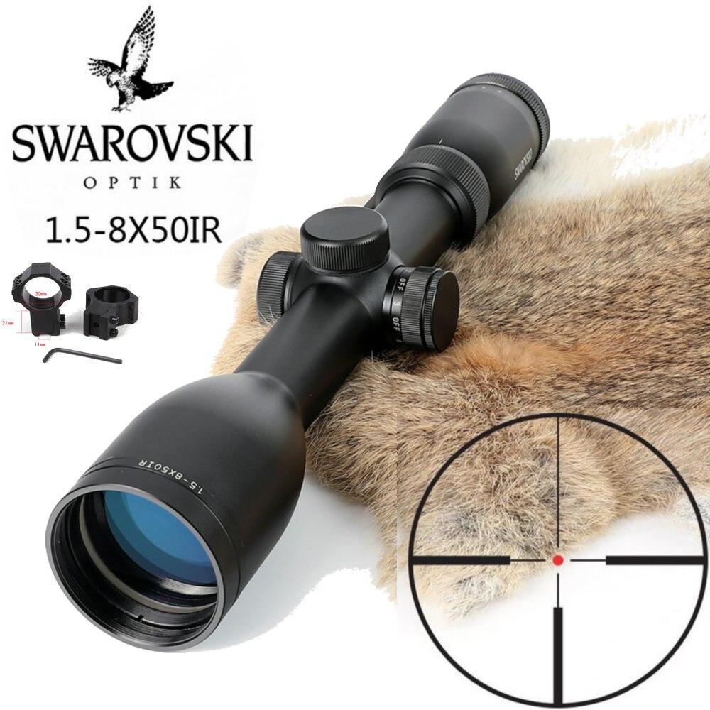 Imitação Swarovskl 1.5-8x50 Rifle Scopes IRZ3 F15 Red Dot Retículo Riflescope Caça Made In China