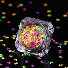 0,7 г флуоресцентные разноцветные Блестки для ногтей Бабочка хлопья гвоздь блестки для ногтей флики для боди-арта