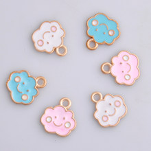10pcs 12x13mm Enamel smile face cloud charms trinket boutique, metal cloud pendants alloy dangle for earrings jewelry making diy(China)