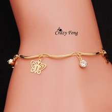 Free shipping top quality trendy summer style Brand New fashion hot butterfly crystal jewelry charm bracelet & anklet for women