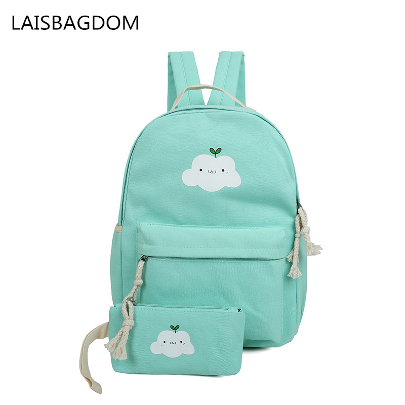 2 PCS/Set Women Backpacks Cloud Printing Book Bags Preppy Style School Bags for Teenage Girls Composite Backpack Sets children school bag minecraft cartoon backpack pupils printing school bags hot game backpacks for boys and girls mochila escolar