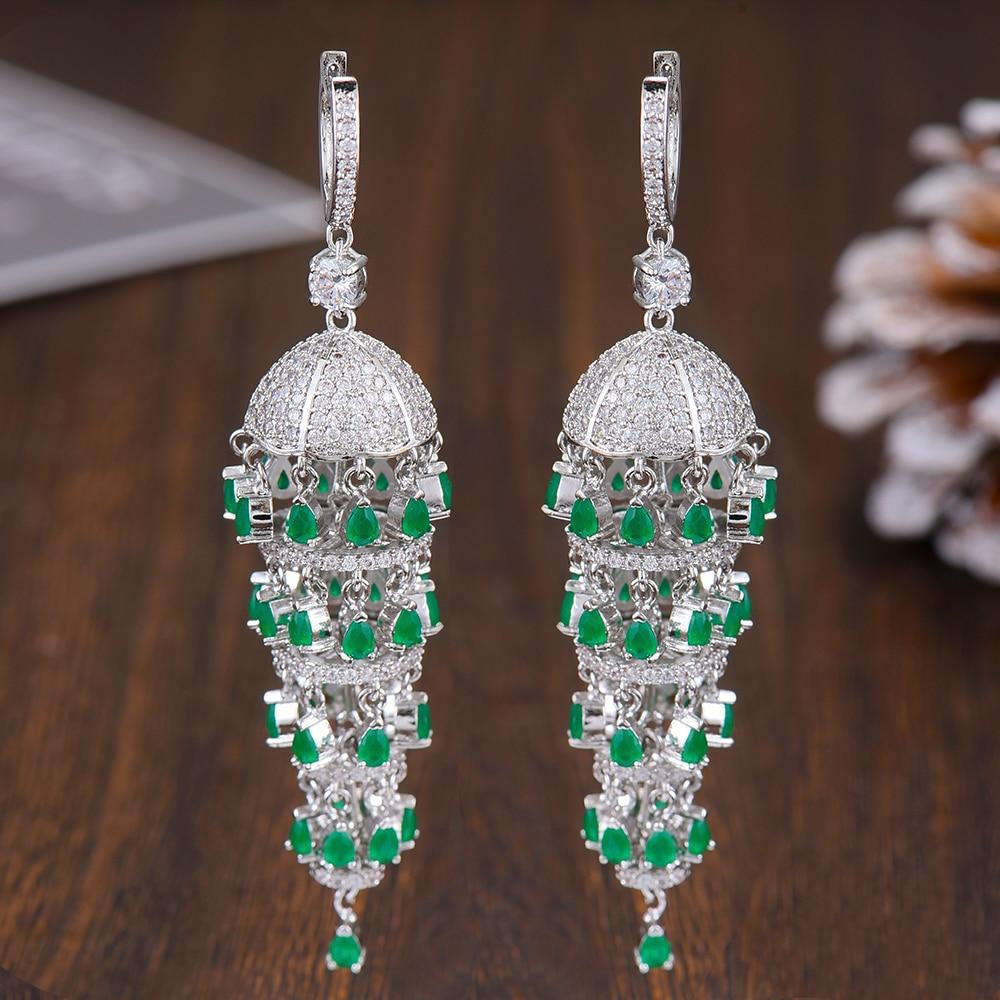 GODKI Luxury Trendy Long Tassel Rain Drop Dangle Earrings for Women Zircon CZ Crystal Earring Statement Jewelry Oorbellen 2019