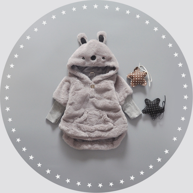 Autumn Winter Baby Infant Solid Faux Fur Fleece Long Sleeve Cartoon Hooded Kids Pullover Outerwear Girls Coat roupas de bebe