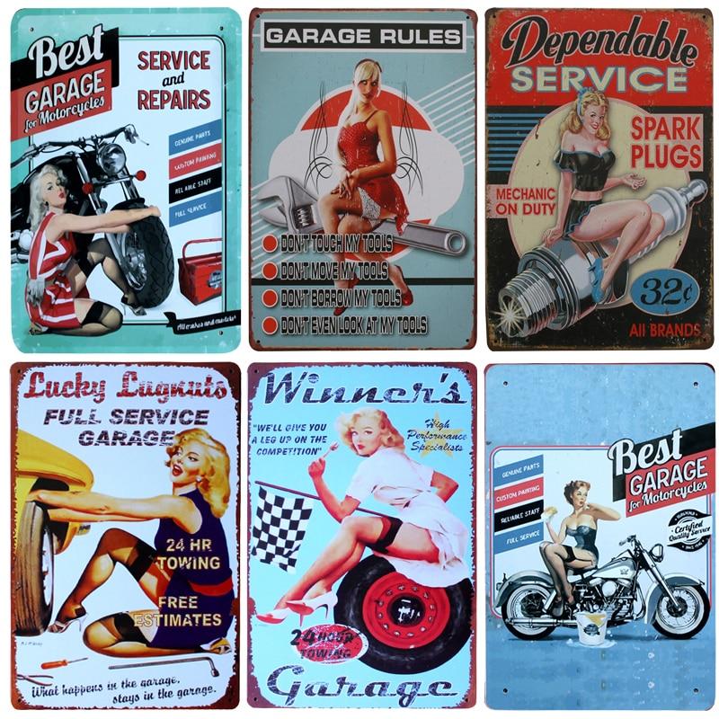 New Beauty Best Garage Service Vintage Metal Signs Home Decor Vintage Tin Signs Pub Vintage Decorative Plates Metal Wall Art