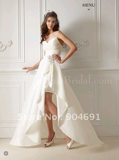 Asymmetrical Bridal Dress White Taffeta Strapless Sheath Wedding ...