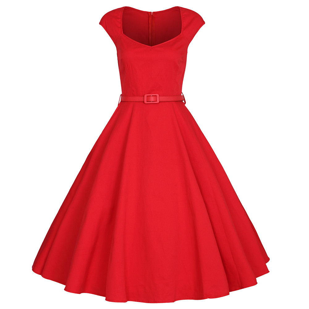 Beautiful Retro Women S Sweetheart Neck Solid Color Sleeveless Dress