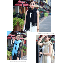 Womens solid color with tassels pure cashmere scarf ladies spring and autumn winter long female shawl mens