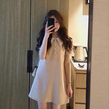 Новое летнее платье для беременных женщин, короткий рукав, отложной воротник, 4 пуговицы, платье трапециевидной формы для беременных, короткое Хлопковое платье