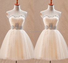 Graduation Homecoming Dresses Light Champagne Strapless Summer Short 8th Grade Party Prom Dress Vestido De Festa