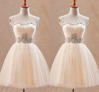 2015 Graduation Homecoming Dresses Light Champagne Strapless Summer Short 8th Grade Party Prom Dress Vestido De