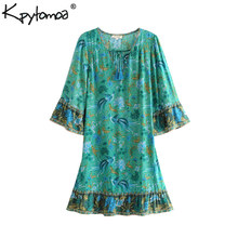 Boho Chic Summer Vintage Bird Floral Print Mini Dress Women 2019 Fashion V Neck Lace Up Tassel Beach Dresses Vestidos Mujer(China)