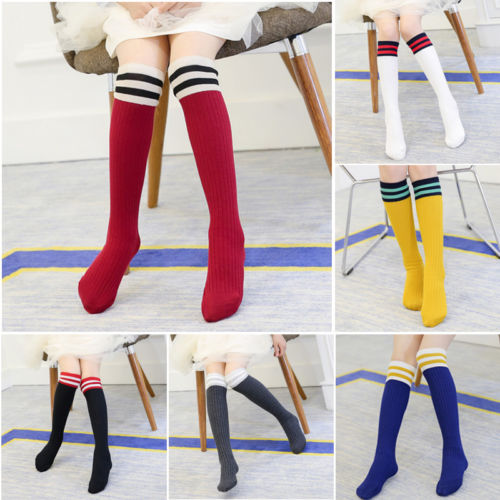 Emmababy Kids Girls Stockings Kids Knee High Length Cotton Stripes Stockings School Dresses Fits Cute Stocking For Baby Girls