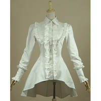 Spring Women White Shirt Ruffled Vintage Victorian Shirts Ladies Gothic Swallowtail Blouse Lolita Costume
