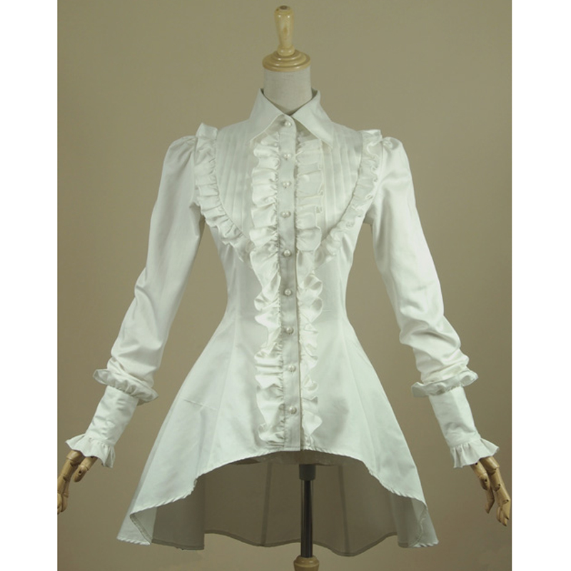 f5101a29ae2 Spring women white shirt Ruffled Vintage Victorian shirts Ladies gothic  swallowtail blouse lolita costume-in Blouses   Shirts from Women s Clothing  ...