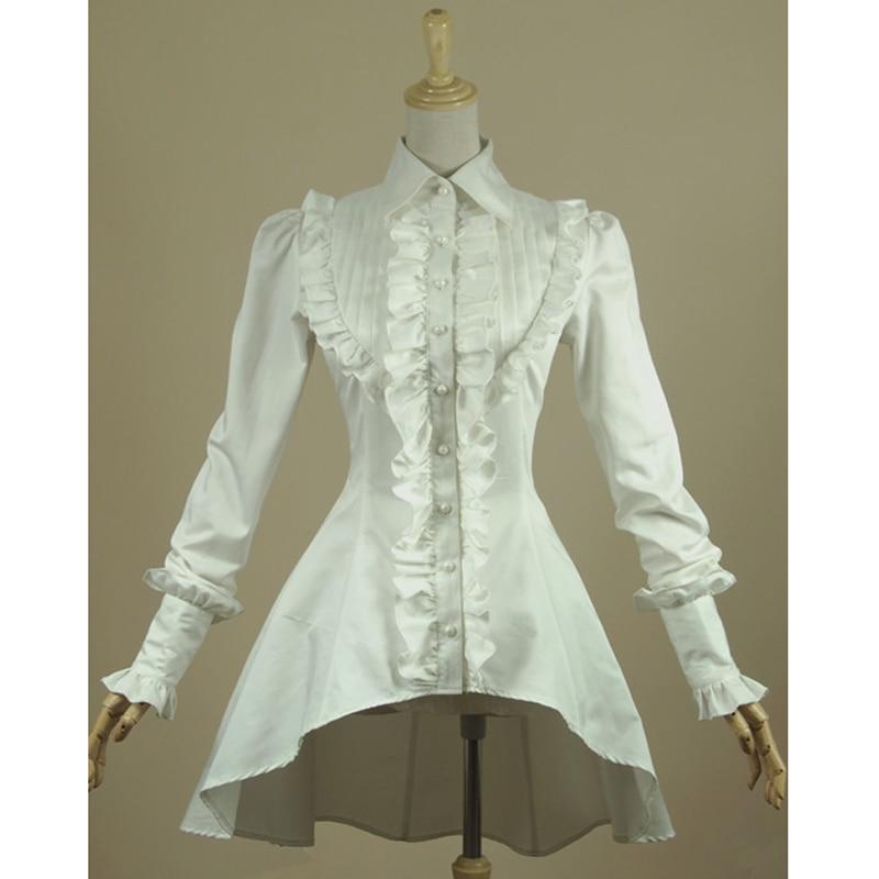Fjäderkvinna vit skjorta Ruffled Vintage Victorian shirts Dam Gothic Swallowtail Bluse Lolita kostym