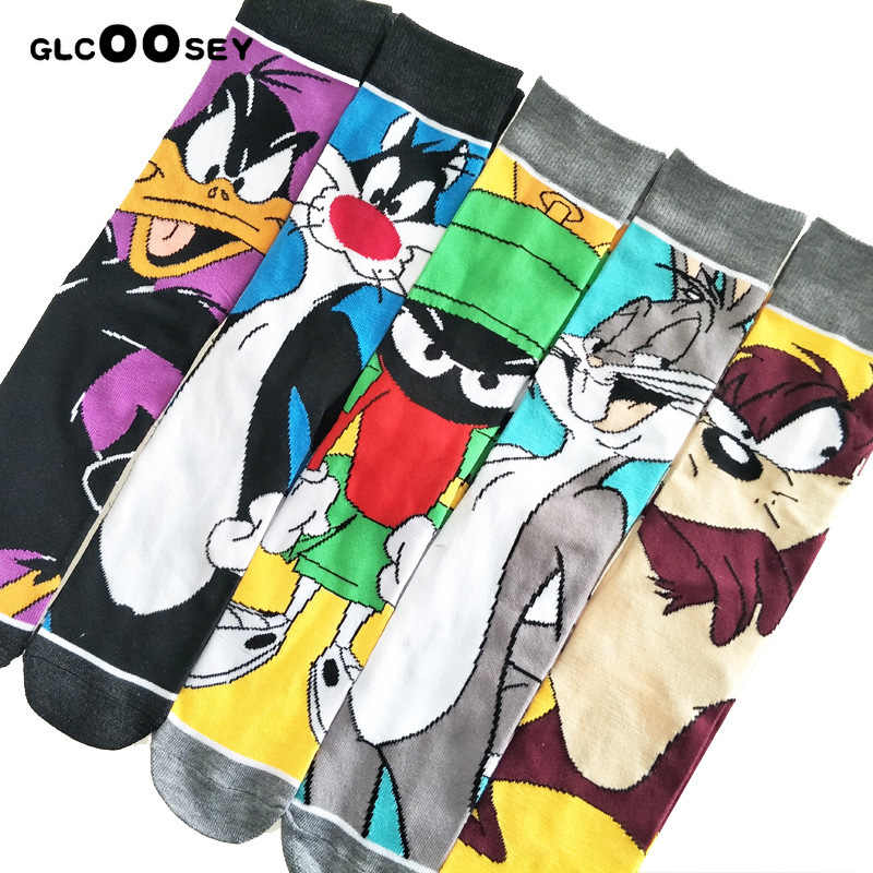 Kreskówka królik skarpety dorywczo Hip Hop kreatywny miękki wygodny zabawny nowość czarny żółty mężczyźni bawełna Calcetines Hombre Divertido