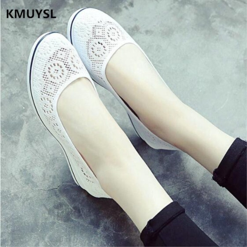 Luxury brand 2018 New Canvas nurse shoes women floral breathable mesh shoes lady casual hollow out shoes zapatos mujer