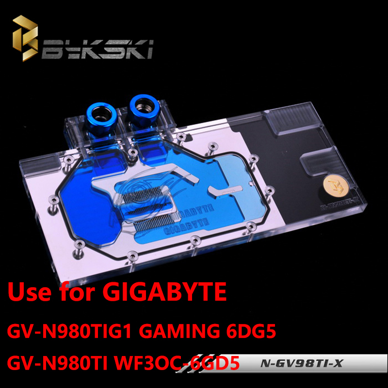 BYKSKI Full Cover Graphics Card Water Cooling GPU Block use for GIGABYTE GV-N980TIG1-GAMING-6GD5/GV-N980TI WF3OC-6GD5 N-GV98TI-X new original graphics card cooling fan for gigabyte gtx770 4gb gv n770oc 4gb 6 heat pipe copper base