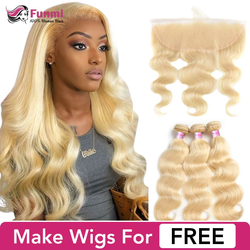 Buy Blonde Bundles With Frontal Make Blonde Lace Front Wig Brazilian Body Wave 613 Bundles With Frontal Funmi Virgin Human Hair image