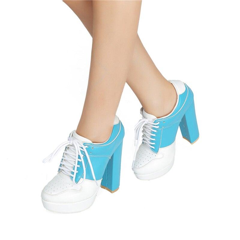 Pie Casuales Dedo Tacón Plataforma Mujer Del Discoteca Tobillo Alto Botas Mezclado Llegadas La Kcenid Nuevas Azul Redondo Mujeres Color Cruz Zapatos atado De Cielo q6wRvzzn