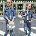 Девушки пальто и куртки Корейский повседневная мода джинсовые губы Пиджаки Джинсы детская одежда оптом