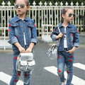 girls coats and jackets Korean casual fashion denim lips Outwear Jeans children's clothing wholesale