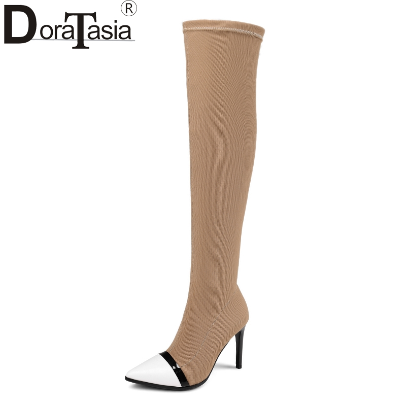 DoraTasia Stretch knitting large size 34-43 over the knee boots thin high heels woman sexy party shoes women boots pointed toe