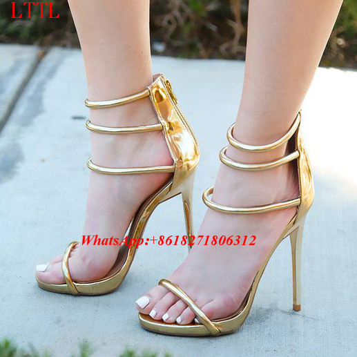 Cruel Summer Single Sole Shoes Woman Stiletto High Heels Women Gladiator  Sandalias Open Toe Metallic Triple Strap Dress Sandals 1fdea5adae2c
