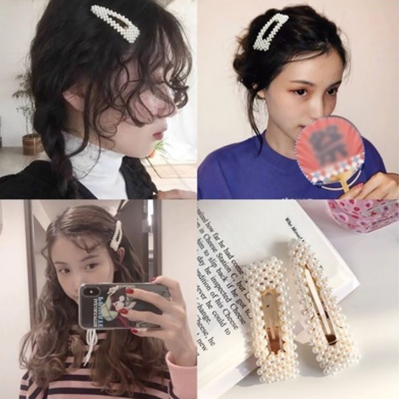 New Simple pearl hairpin bangs clip side clip word folder duckbill clip Headwear Hot