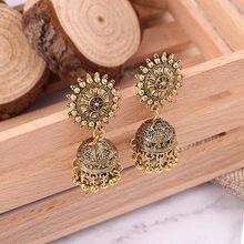 Bing tu ouro antigo prata cor brincos femininos borla do vintage grânulo brinco indiano dangle brincos jhumki boho jóias
