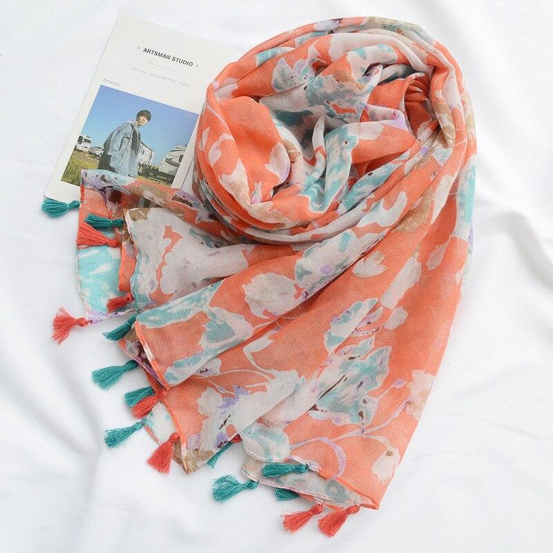 KYQIAO шарфы женские luxury brand scarf women autumn spring Long boho orange print hijab scarf for women head scarf