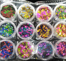 12jars/lot glitter powder holographic DOTS points sequin craft chunky 1mm 2mm 3mm * new