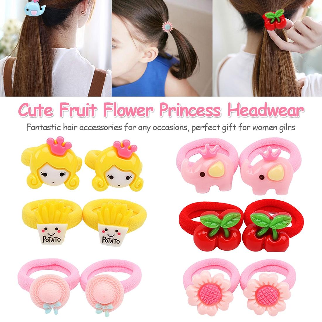 2PCS New Cute Cartoon Rubber Band Hair Ring Fashion Kids Flower Fruit Animal Rubber Bands   Headwear   Girl Hair Accessories