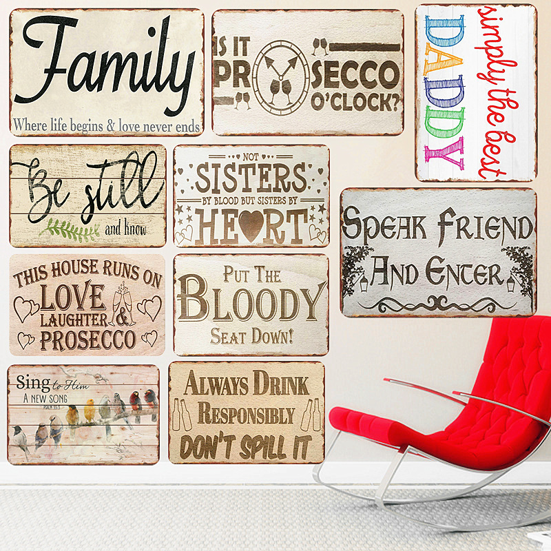 Best Daddy Plaque Vintage Metal Signs Bar Pub Decorative Plates Family Love Wall Stickers Home Sweet Art Poster Decor N249