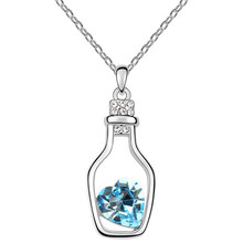 Red Blue Crystal In Drift Bottle Necklace Jewel Alloy Necklace For Women(China)
