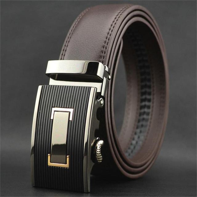 664f2833b4ba WOWTIGER de NOUVEAUX hommes d affaires de luxe en cuir Automatique boucle  ceintures pour hommes