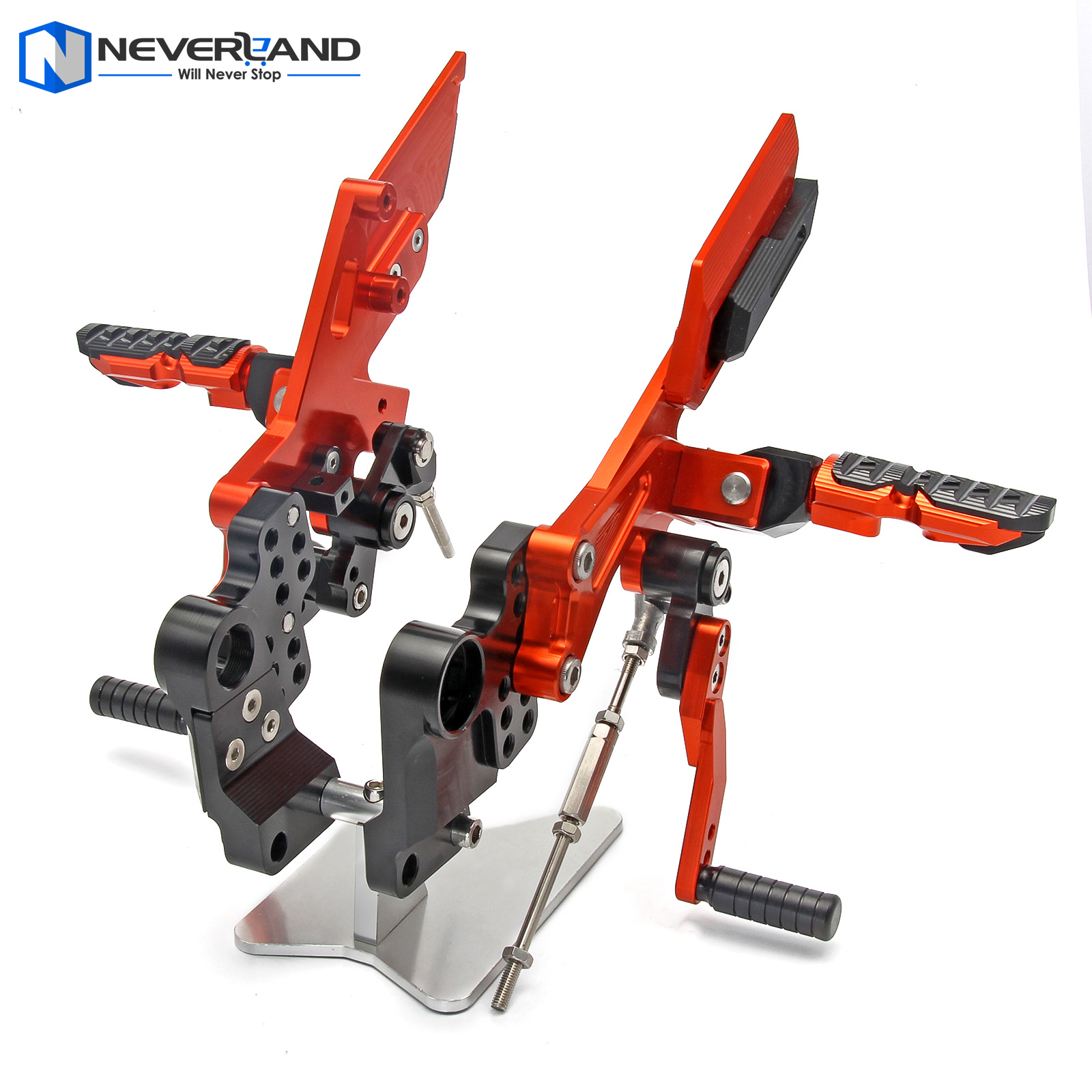 NEVERLAND CNC Adjustable Rider Rear Sets Rearset Footrest Foot Rest Pegs For KTM DUKE 125/200 2011-2014 2012 2013 Orange motorcycle rear brake master cylinder reservoir cove for ktm duke 125 200 390 rc200 rc390 2012 2013 2014