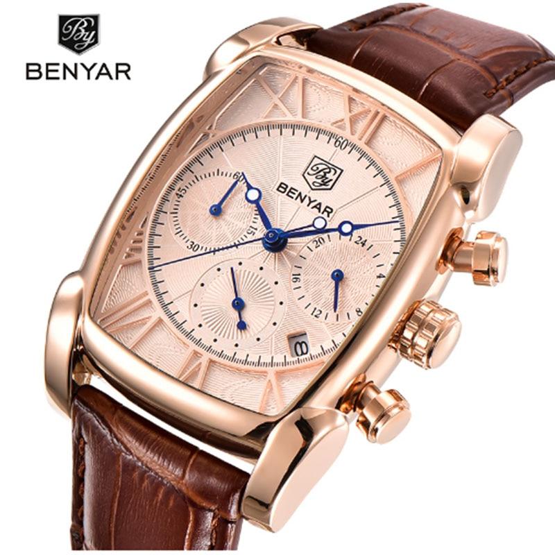 BENYAR fashion casual gold leather rectangular men's watch men's waterproof multi function quartz watch men's leather strap|Quartz Watches| |  - title=