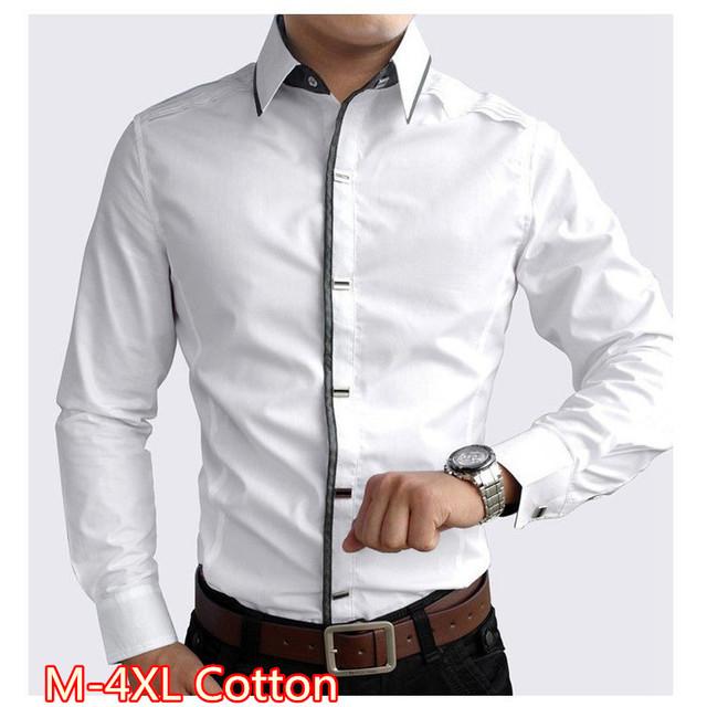 2017 de Alta calidad 100% algodón ropa de los hombres de negro y blanco para hombre vestido de manga larga camisas de los hombres slim fit camisa de los hombres camisas hombre