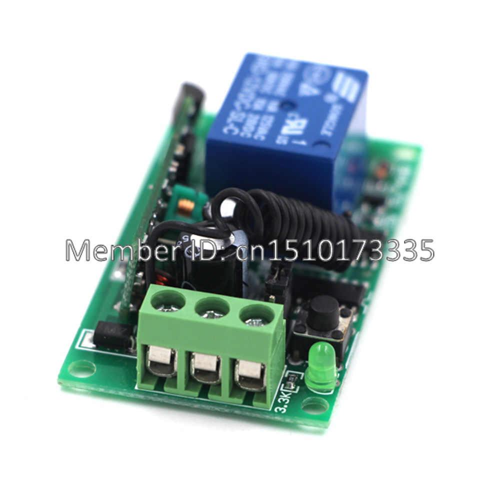 Control remoto inalámbrico RF interruptor de luz 10A relé salida Radio CC 9V 12V 24V 1 canal 1CH receptor módulo transmisor