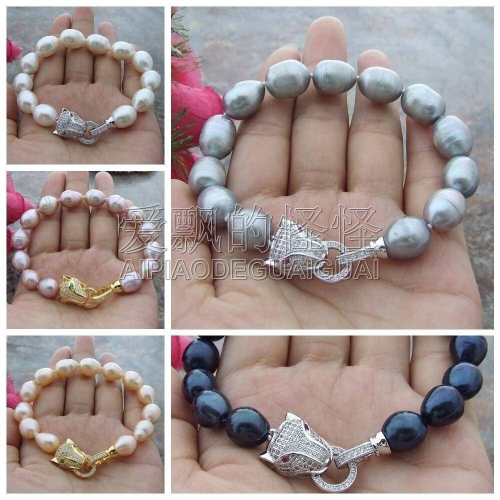 Bracelet perle deau douce 8 10mm x 12mm blanc noir gris rose violetBracelet perle deau douce 8 10mm x 12mm blanc noir gris rose violet