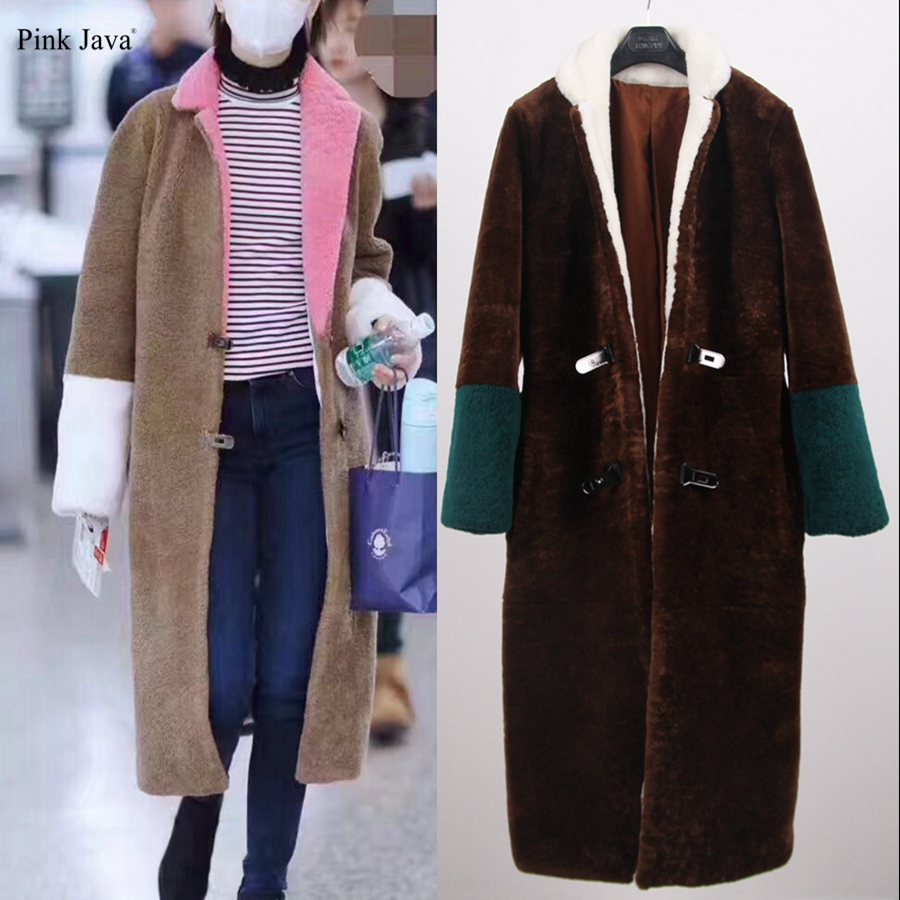 2017 Hot Sale Direct Selling Full PJ8027 Women Winter Real Merino Sheep Fur Shearling Coat With Raccoon Collar Slim Regular ...
